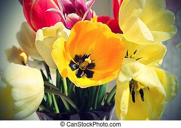 blumengebinde, von, bunte, fruehjahr, tulpen