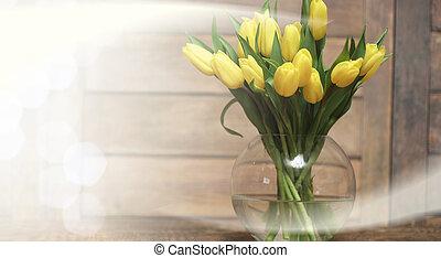 blumengebinde, von, gelber , tulpen, in, a, blumenvase, boden