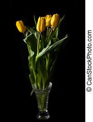 blumengebinde, von, gelber , tulpen, in, a, blumenvase