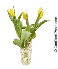 blumengebinde, von, gelber , tulpen, in, a, kristall vase