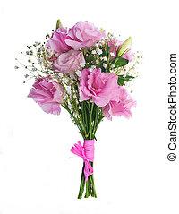 blumengebinde, von, rosafarbene rosen, blumen-, hintergrund