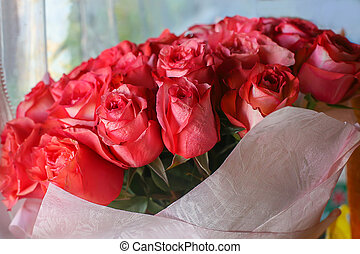 blumengebinde, von, rote rosen