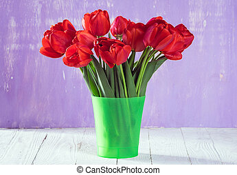 blumengebinde, von, tulpen, in, a, blumenvase