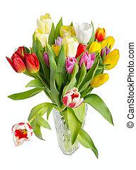 blumengebinde, von, tulpen, in, a, kristall vase