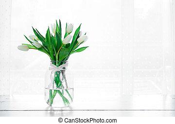 blumengebinde, von, weißes, tulpen, in, a, blumenvase