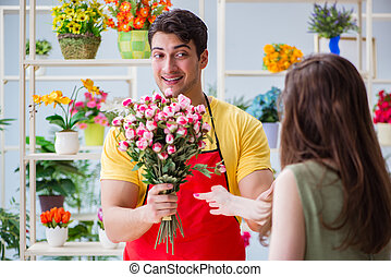 blumenhändler, verkauf, blumen, in, a, floristik