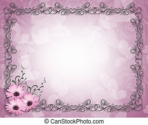 blumenrahmen, lila, gänseblumen, schablone