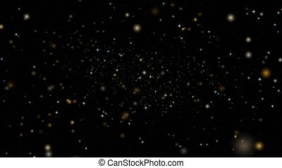 Blur and colorful stars dust rotate motion particles slow faded on dark red screen background