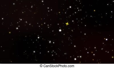 Blur and colorful stars rotate motion glittering particles slow faded on dark red screen background