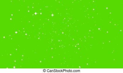 blur and stars abstract motion glittering particles slow faded on green screen background
