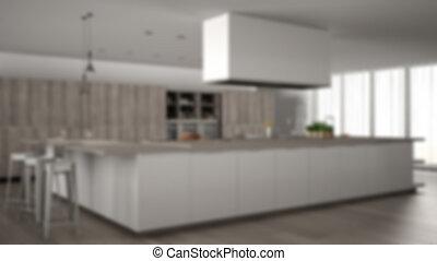 Blur background interior design, white minimalistic kitchen