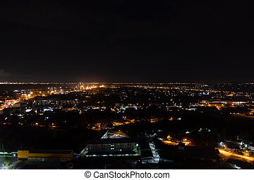 Blur background night bokeh light in big city