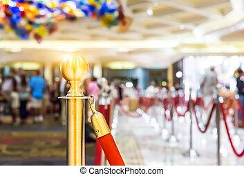 Blur background reception hall in hotel.