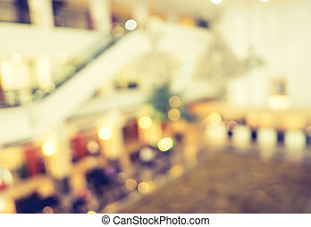 Blur background,Hallway of department store with bokeh light background,vintage filter