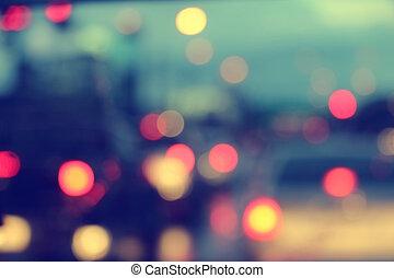 blur bokeh light in traffic jam