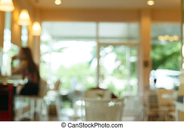blur cafe background, cafe coffee shop with people customer