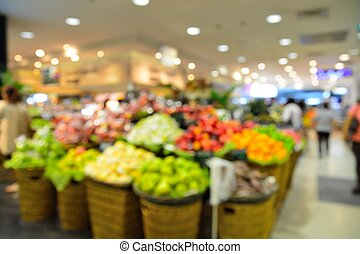 Blur fruit store background with bokeh light