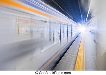 blur hi speed subway underground train fast business transport concept