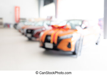 Blur image of car in the showroom