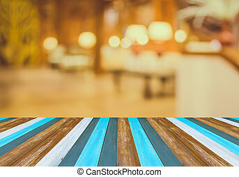 blur image of empty hotel 's lobby with vintage tone