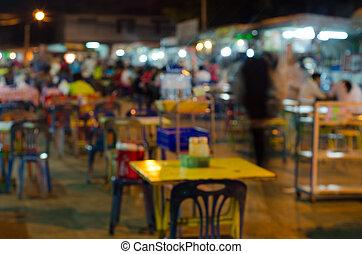 Blur image of street food at night market ,Thailand - Blur...