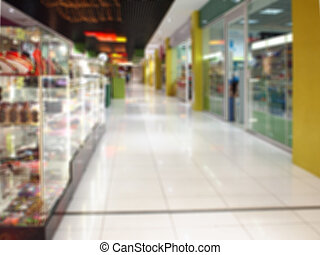 Blur image of the hall in a large shopping mall