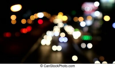 blur light traffic much car on road in the christmas day - ...