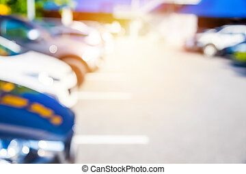 Blur of car in the car park