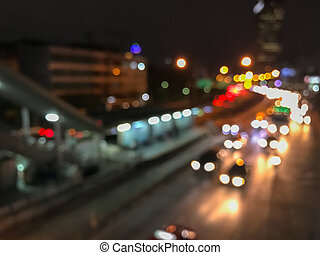 blur of traffic in the city at night