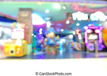 Blur or Defocus Background of Arcade game Zone in Shopping...
