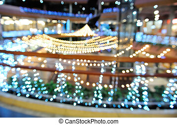 Blur or Defocus background of Decoration light at festival area in department store