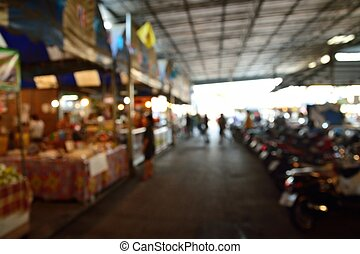 Blur or Defocus Background of Local or Traditional Market with People in Thailand.