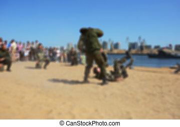 Blur river beach- special forces