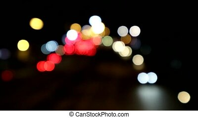 blur road night light and vehicle come back home