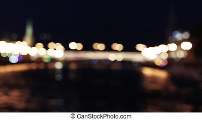 Blur ship on river at night - Boke traffic on Moscow river...