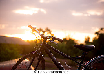 blured bycicle  with sun light.