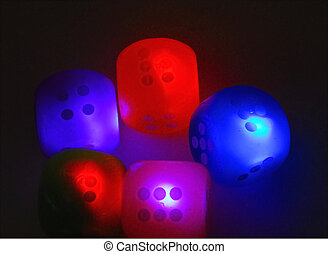 lit up dice with blur effect