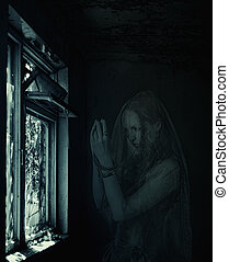 blured, mujer, fantasma, rezando, en, viejo, casa