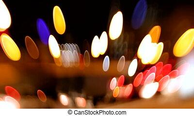 Blured night winter traffic lights, shot on lens baby