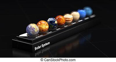 blured, planetas, system., ilustração, fundo, solar, nosso, 3d