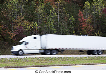 Blured semi truck