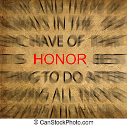 Blured text on vintage paper with focus on HONOR