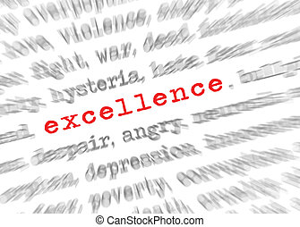 Blured text zoom effect with focus on excellence