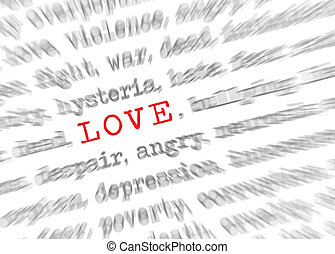 Blured text zoom effect with focus on Love