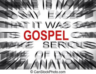 blured, texto, con, foco, en, evangelio