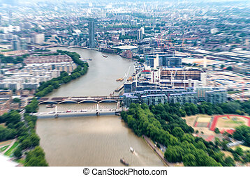 Blurre aerial view of London