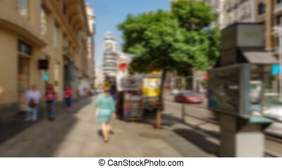 Blurred 4k image of tourist walking - Hyperlapse wide angle...