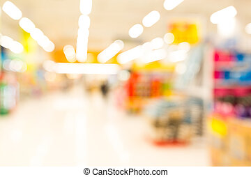 Blurred abstract background inside supermarket