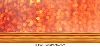 Blurred abstract golden sot lights with wood