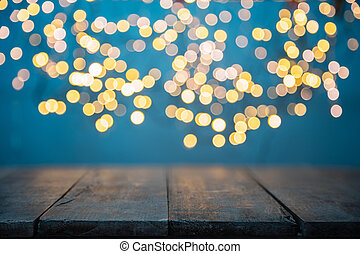 Blurred abstract golden spot lights with wood - Blurred ...